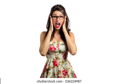 Isolated woman on white background shows stress fear panic anxiety in shock and disbelief