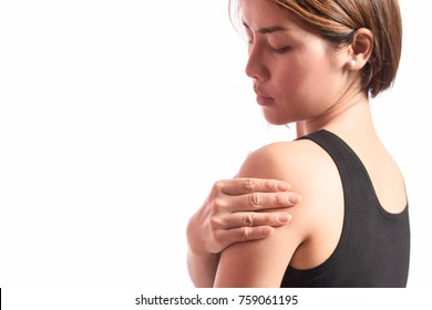 isolated woman pain left shoulder with space for text