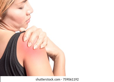 isolated woman pain right shoulder with space for text