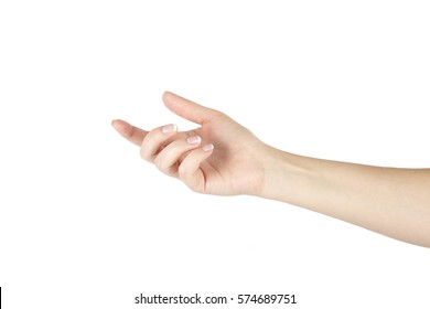 Isolated woman's hand on a white background.