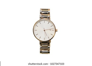 isolated women gold wrist watch on white background