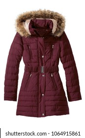 isolated women's winter coat