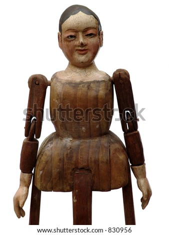 isolated wood doll