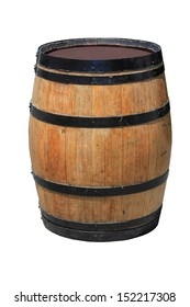 Isolated wooden barrel on white background