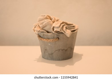 Isolated wooden basket with towels (Pesaro, Italy, Europe)