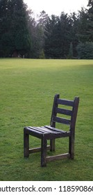 Isolated wooden chair in park