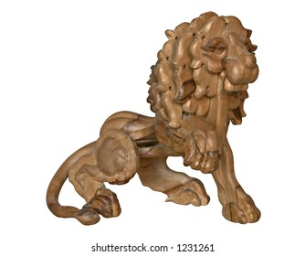 Isolated wooden lion