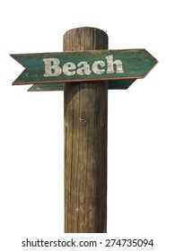 Isolated Wooden Sign Pointing To The Beach With White Background