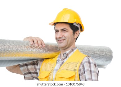 Isolated worker is on white background
