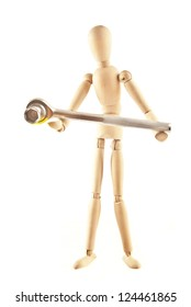isolated worker wooden  mannequin figure with wrench