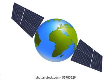Isolated World globe with Solar Panels