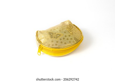 the isolated of the woven bag is rope pattern for money pouch on a white background