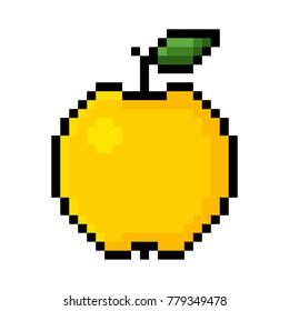 Isolated yellow apple pixel art; Yellow apple in Big Pixels