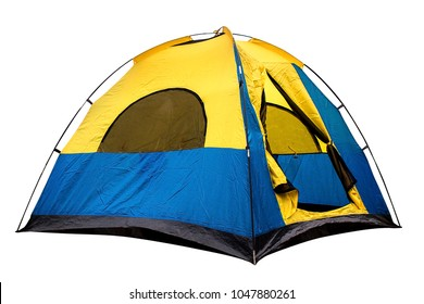 Isolated yellow and blue dome tent with clipping path