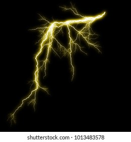 Isolated yellow electrical lightning strike visual effect on black background.