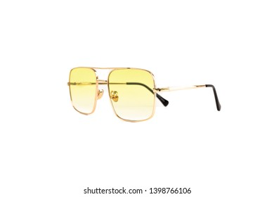 Isolated Yellow Gradient Flat Top Trapezoidal Aviator Sunglasses with Thin Frame, Side View