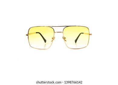 Isolated Yellow Gradient Flat Top Trapezoidal Aviator Sunglasses with Thin Frame, Front View