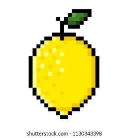 Isolated yellow lemon pixel art; Lemon in Big Pixels