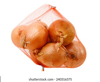 An isolated yellow onion bag