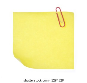 Isolated yellow post-it paper with red clip without any shadow