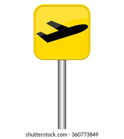 Isolated yellow sign is showing airplane