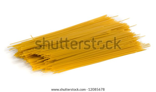 Isolated yellow spaghetti with shadow on white background. Clipping path included to remove object shadow or replace background. See similar photos in my portfolio.