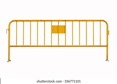 Isolated yellow temporary fence