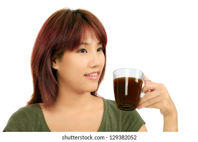 Isolated Young Asian woman with a cup of coffee