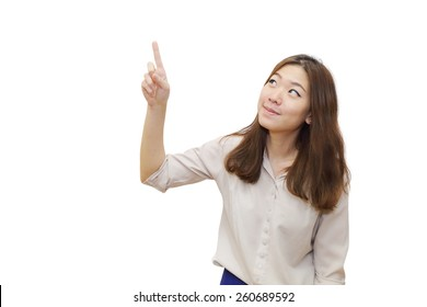 isolated young asian woman pointing upwards