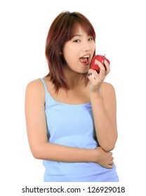 Isolated young asian woman with a red apple.