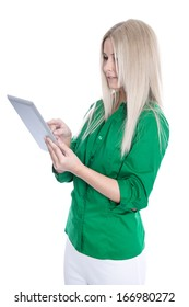 Isolated young blond woman holding tablet pc.