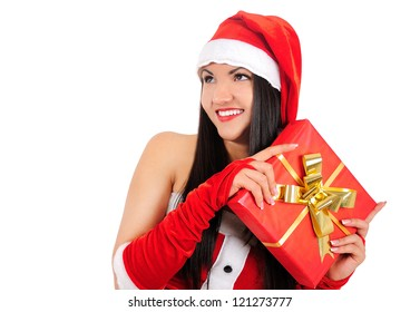 Isolated young brunette christmas girl holding fit