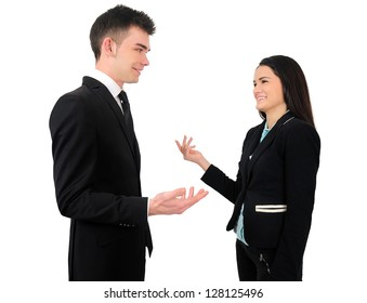Isolated young business couple talk