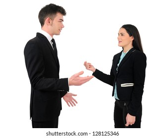 Isolated young business couple talking