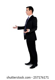 Isolated young business man arguing