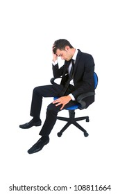 Isolated young business man unhappy