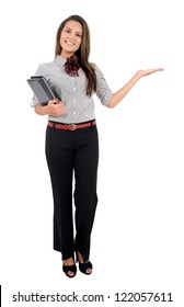 Isolated young business woman holding palm