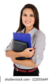 Isolated young business woman with notebook