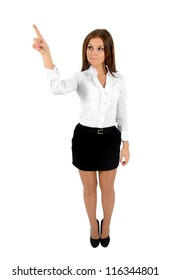 Isolated young business woman push something