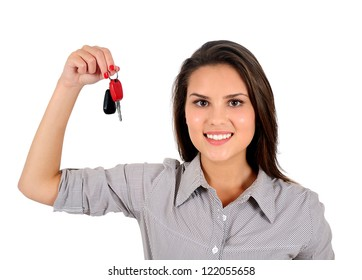 Isolated young business woman showing keys