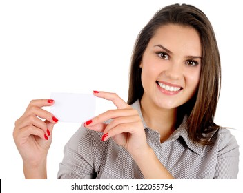 Isolated young business woman showing card