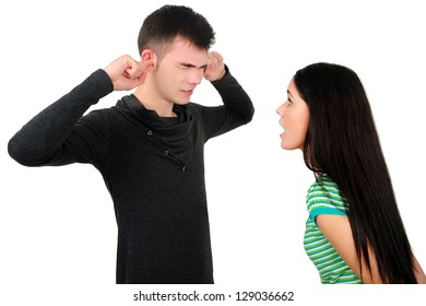 Isolated young casual couple argue