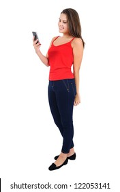 Isolated young casual girl with phone