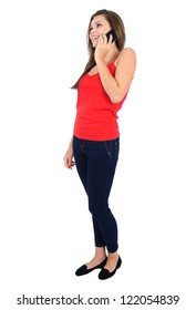 Isolated young casual girl speaking phone