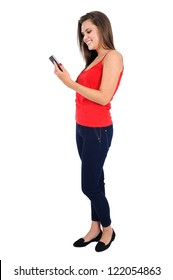 Isolated young casual girl using phone