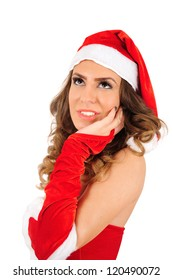 Isolated young christmas woman thinking