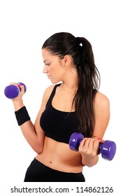 Isolated young fitness woman