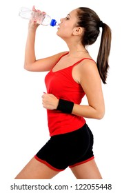Isolated young fitness woman running