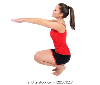 Isolated young fitness woman training
