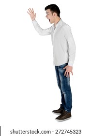 Isolated young man arguing side